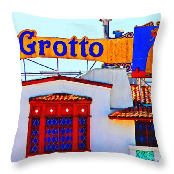 Fishermens Grotto Restaurant At Fishermans Wharf . San Francisco California . 7d14350 Throw Pillow by Wingsdomain Art and Photography