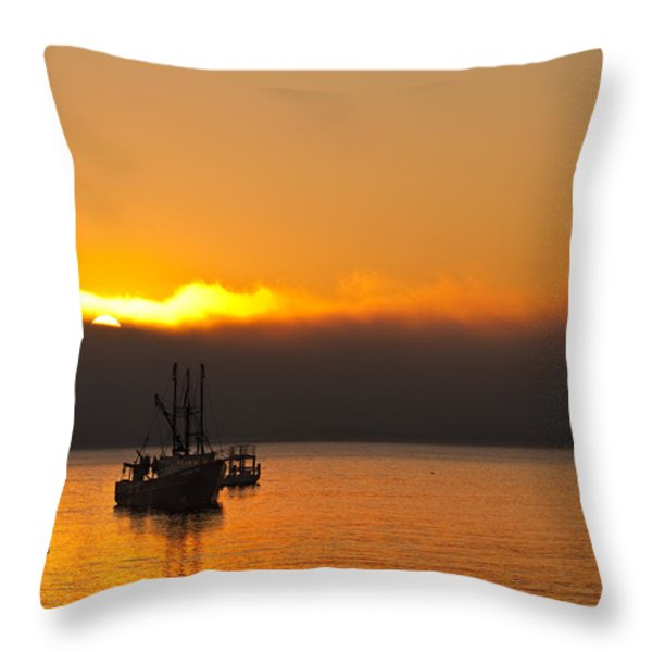 Fishing Boat At Sunrise Throw Pillow by Steve Gadomski