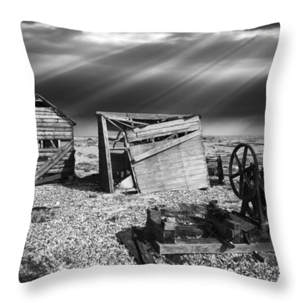 fishing boat graveyard 4 Throw Pillow by Meirion Matthias