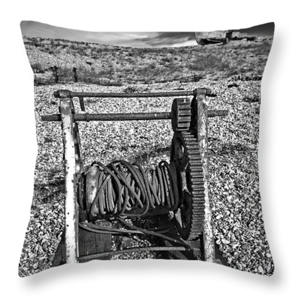 fishing boat graveyard 8 Throw Pillow by Meirion Matthias
