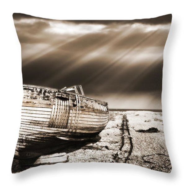 fishing boat graveyard 9 Throw Pillow by Meirion Matthias