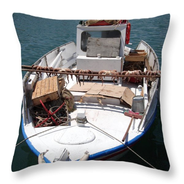 Fishing boat with octopus drying Throw Pillow by Jane Rix