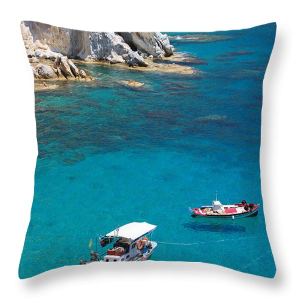 Fishing Boats 2  Throw Pillow by Emmanuel Panagiotakis