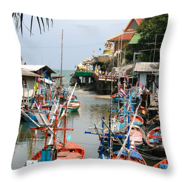 fishing boats Throw Pillow by Adrian Evans