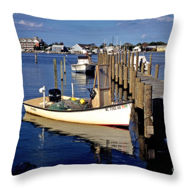 Fishing boats at dock Ocracoke Village Throw Pillow by Thomas R Fletcher