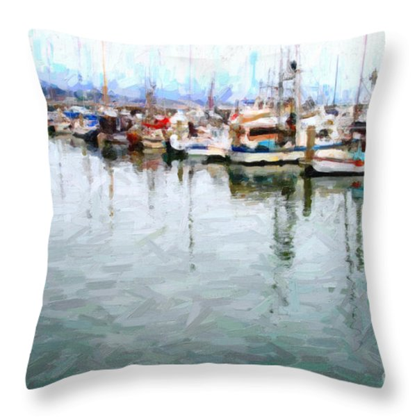 Fishing Boats At The Dock . 7d8187 Throw Pillow by Wingsdomain Art and Photography