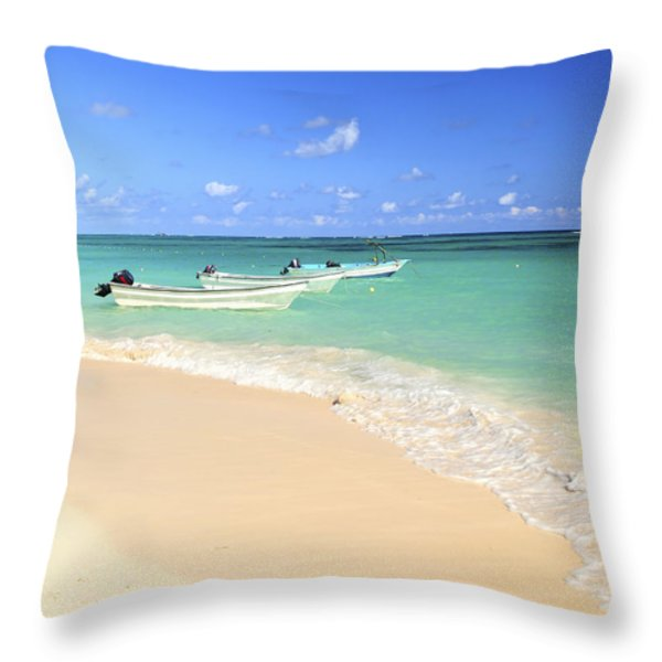 Fishing Boats In Caribbean Sea Throw Pillow by Elena Elisseeva