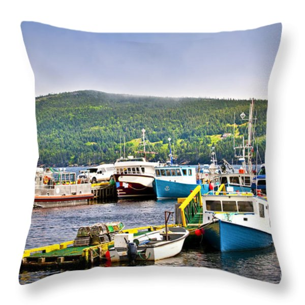 Fishing boats in Newfoundland Throw Pillow by Elena Elisseeva