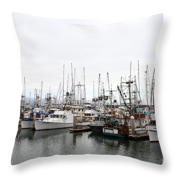 Fishing Boats In Pillar Point Harbor At Half Moon Bay California . 7d8196 Throw Pillow by Wingsdomain Art and Photography