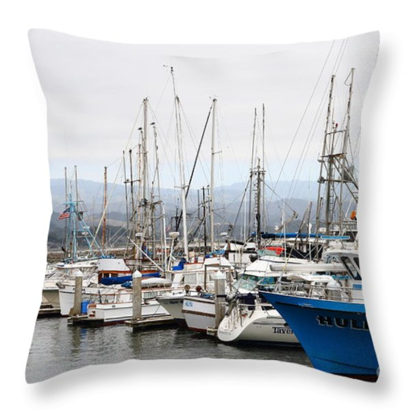 Fishing Boats In Pillar Point Harbor At Half Moon Bay California . 7d8208 Throw Pillow by Wingsdomain Art and Photography