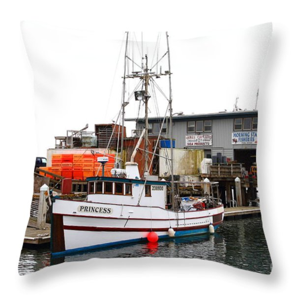 Fishing Boats In Pillar Point Harbor At Half Moon Bay California . 7d8210 Throw Pillow by Wingsdomain Art and Photography
