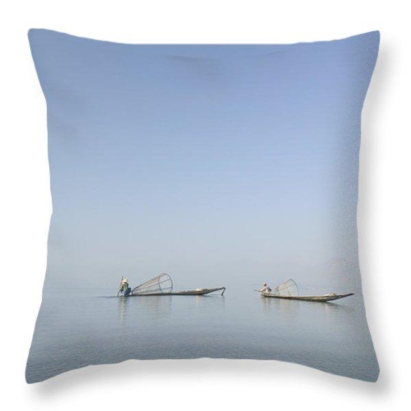 Fishing Boats, Inle Lake, Myanmar Burma Throw Pillow by Huy Lam