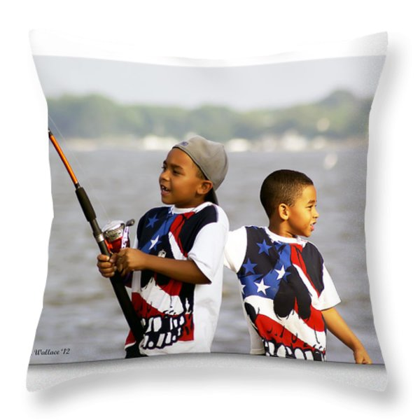 Fishing Brothers Throw Pillow by Brian Wallace