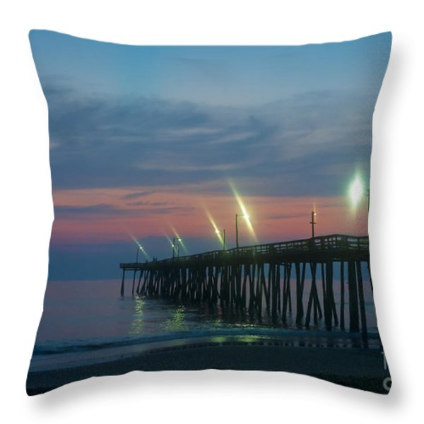 Fishing Pier Sunrise Throw Pillow by John Greim