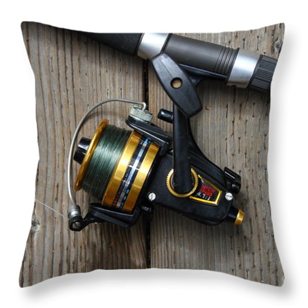 Fishing Rod and Reel . 7D13542 Throw Pillow by Wingsdomain Art and Photography