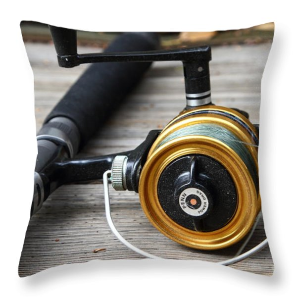 Fishing Rod and Reel . 7D13547 Throw Pillow by Wingsdomain Art and Photography
