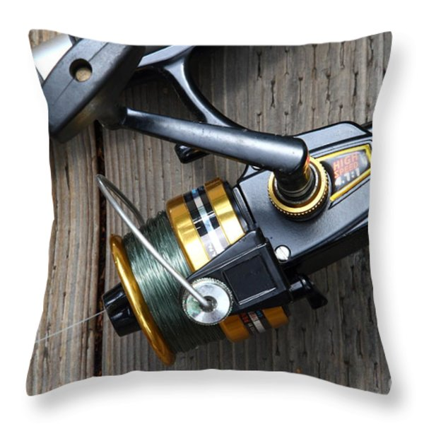 Fishing Rod And Reel . 7d13565 Throw Pillow by Wingsdomain Art and Photography