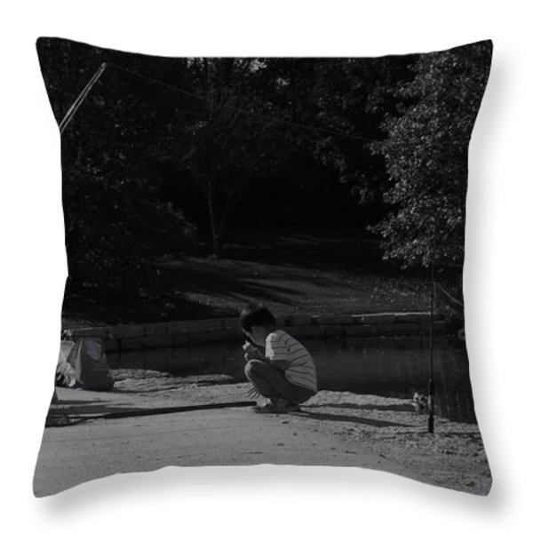 Fishing With Grandpa Throw Pillow by Anna Villarreal Garbis