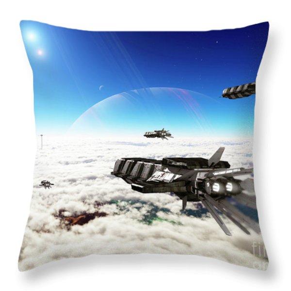 Five Medium Freighters Deccelerate Throw Pillow by Brian Christensen