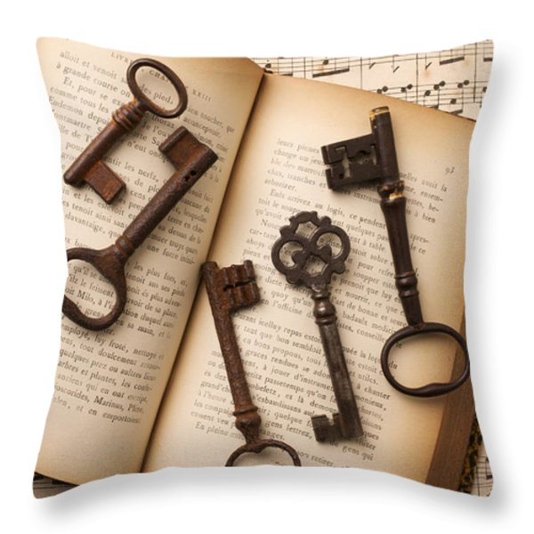 Five Old Keys Throw Pillow by Garry Gay