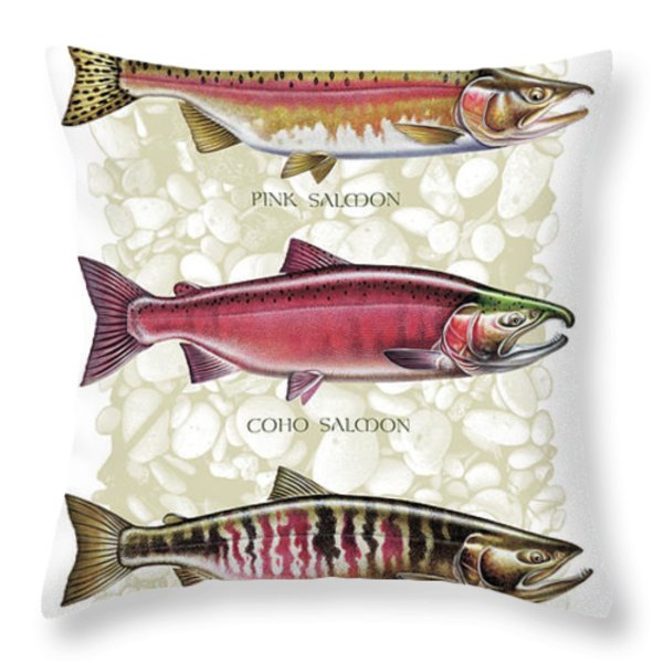 Five Salmon Species  Throw Pillow by JQ Licensing