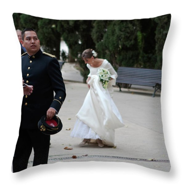 Fixing Her Gown Throw Pillow by Lorraine Devon Wilke