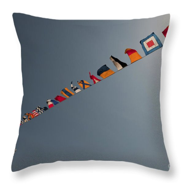 Flags Fly Over The Deck Of The Uss Iwo Throw Pillow by Stocktrek Images