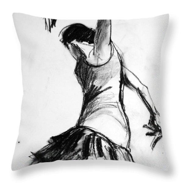 Flamenco Sketch 2 Throw Pillow by Mona Edulesco