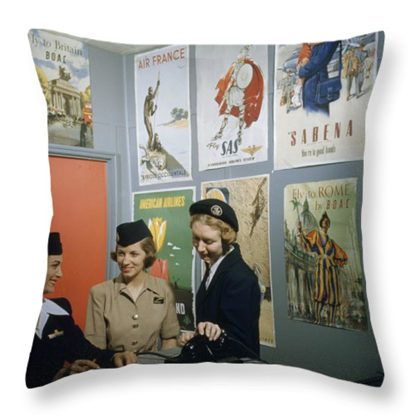 Flight Attendants Stand And Talk Throw Pillow by B. Anthony Stewart