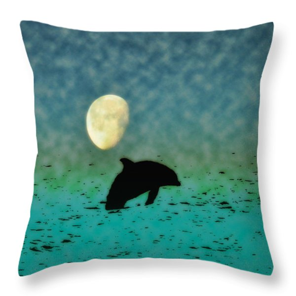 Flippers Moonlight Swim Throw Pillow by Bill Cannon