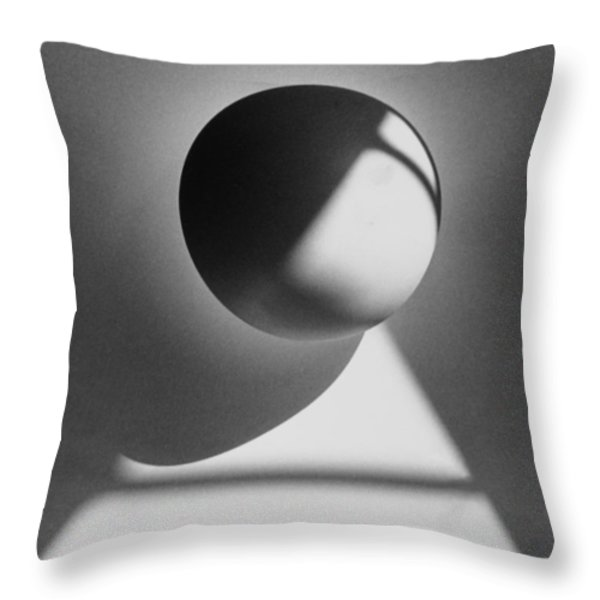 Floating Sphere On Light Triangle- Black And White Silver Gelati Throw Pillow by Adam Long