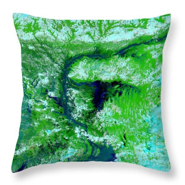 Flooding In Bangladesh Throw Pillow by NASA