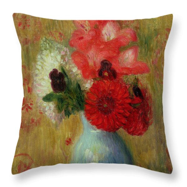 Throw Pillow Arrangement : Flowers In Vase Oil Paintings Throw Pillows for Sale