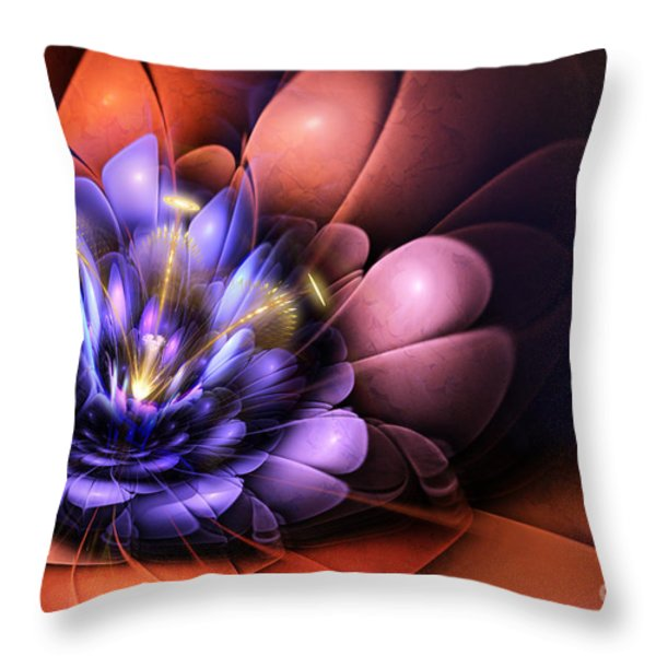 Floral Flame Throw Pillow by John Edwards