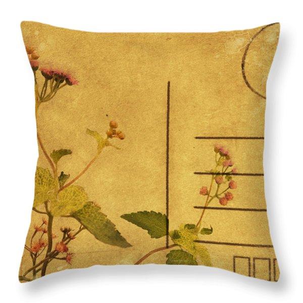 floral pattern on postcard Throw Pillow by Setsiri Silapasuwanchai