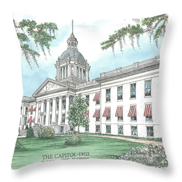 Florida Capitol 1902 Throw Pillow by Audrey Peaty