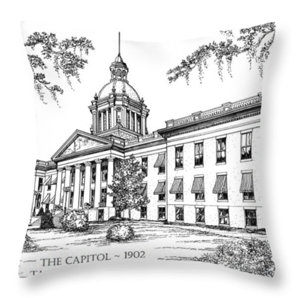 Florida Capitol 1902 Ink Throw Pillow by Audrey Peaty