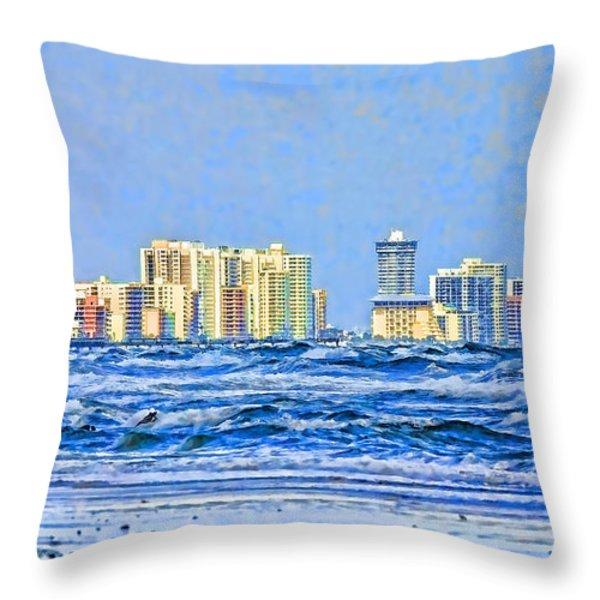 Florida Turbulence Throw Pillow by Deborah Benoit