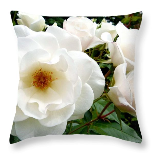 Flourishing Iceberg Roses Throw Pillow by Will Borden