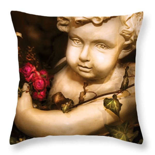 Flower - Rose - The Cherub  Throw Pillow by Mike Savad