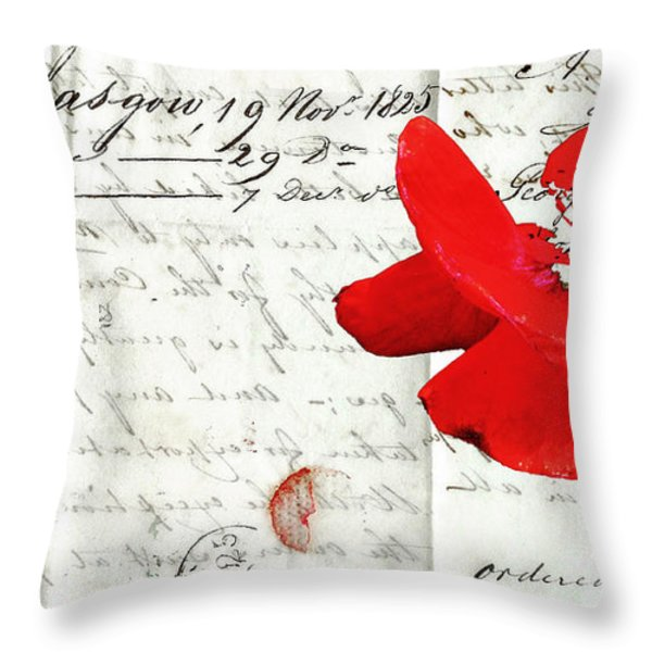 Flower Love Letter Throw Pillow by adSpice Studios