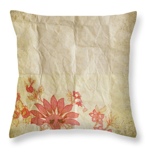 flower pattern on old paper Throw Pillow by Setsiri Silapasuwanchai
