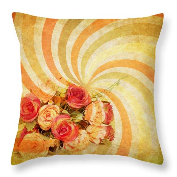flower pattern retro style Throw Pillow by Setsiri Silapasuwanchai