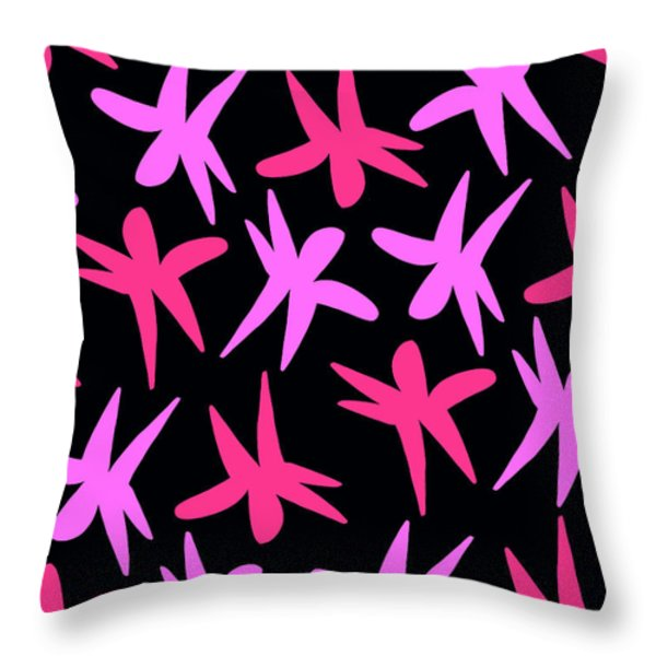 Flower Stars  Throw Pillow by Louisa Knight