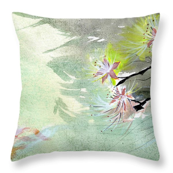 Flowers 3 Throw Pillow by Anil Nene