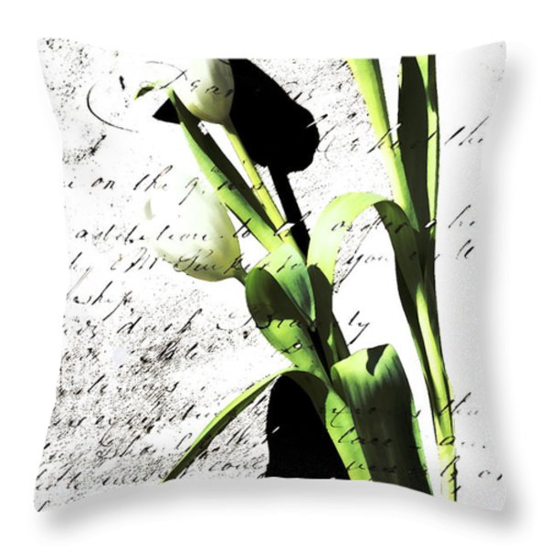 Flowers and Love Letters Throw Pillow by Anahi DeCanio