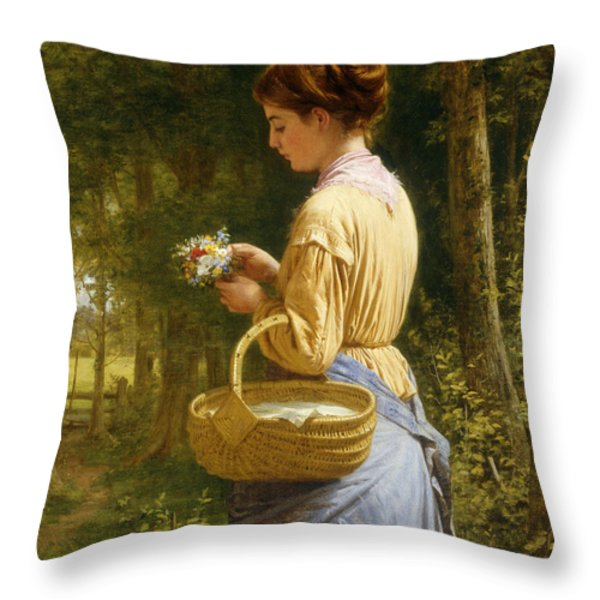 Flowers From The Woods Throw Pillow by JO Bank