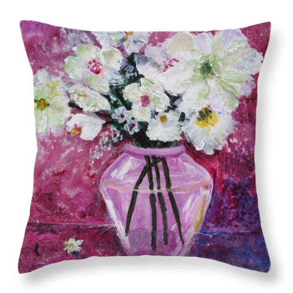 Flowers In A Magenta Room Throw Pillow by Marilyn Woods