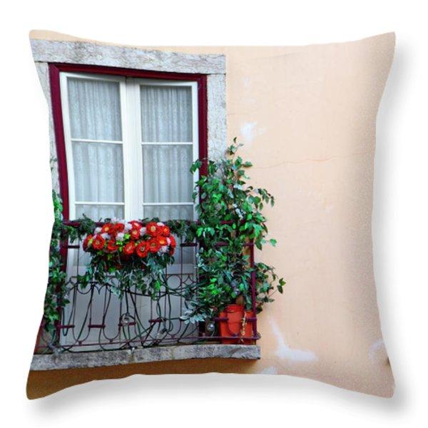 Flowery Balcony Throw Pillow by Carlos Caetano