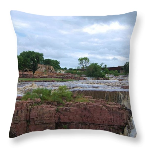 Flowing Falls Throw Pillow by Judy Hall-Folde
